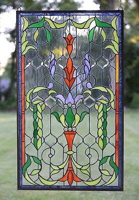"Tiffany Style Jeweled stained glass window panel. 20.5""W x 34.75""H"