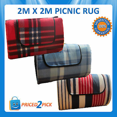 Outdoor 2x2m Waterproof Large Picnic Rug Picnic Blanket Camping Floor Mat Red