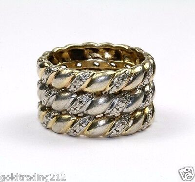 925 Sterling Vintage Gold Tone Cable Style Band/ Ring Rg 723