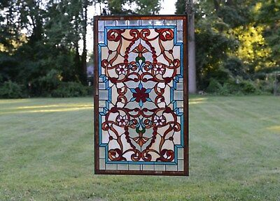 "Tiffany Style Jeweled Beveled stained glass window panel. 20.5""W x 34.75""H"