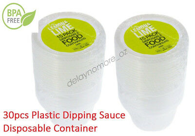 30pcs Plastic Dipping Sauce Disposable Small Container Cups Lids Takeaway 100ml
