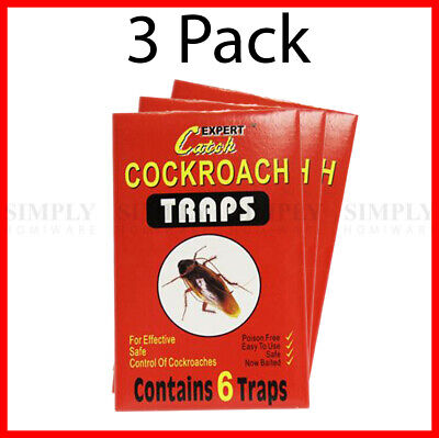 3x Cockroach Trap Bait Sticky Traps Glue Cockroaches Insect Bug Pest Control