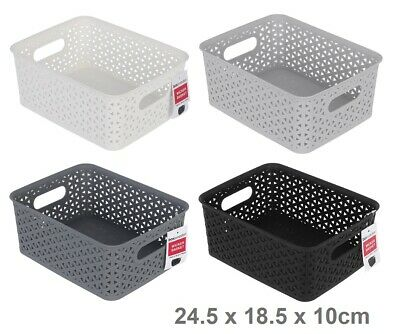 6 Rectangle Multi Purpose Plastic Storage Basket Wicker Pattern Organisation VIC