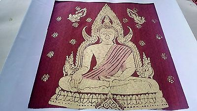 Thai Amulet Thai Silk Screen Buddha Design Painting Art Picture Wall 12x12""