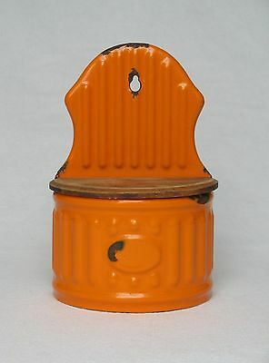 VINTAGE FRENCH ENAMELWARE WALL-HANGING KITCHEN BOX in bright orange coloring