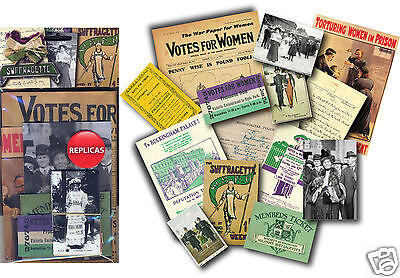 Suffragette Memorabilia Gift Pack with over 20 pieces of Replica Artwork