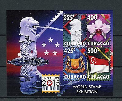 Curacao 2015 MNH Singapore 2015 World Stamp Exhibition 4v M/S Merlion Coat Arms