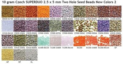 10 gram or 24 gram  Czech SUPERDUO 2.5 x 5 mm Two Hole Seed Beads New Colors 2