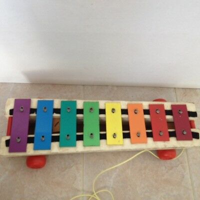 Vintage 1964 Fisher Price Pull A Tune Rolling Xylophone Music Toy Rare