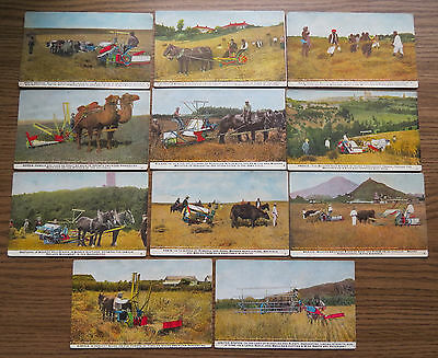 11 INTERNATIONA HARVESTER MACHINES 1909 POSTCARDS From Around The World