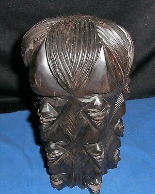 RARE Handcarved Solid Ebony Wood 4 sided Chief Statue African Decor Vintage