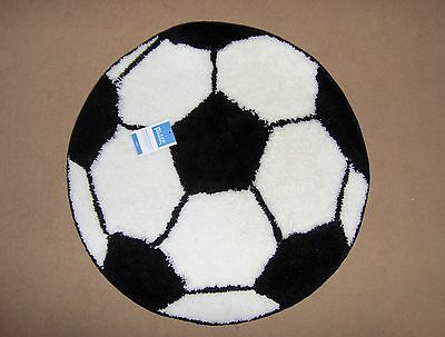 Small Kids Novelty Round Footy Football Rug, Black & White