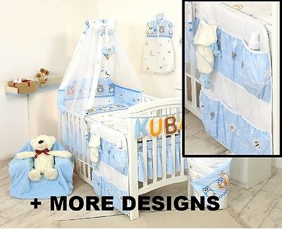 Blue Owl Cot Organizer + Nursery Cot - Cot Bed Set With Canopy + Bumper +More