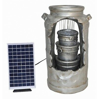 Solar Powered Milk Churn Water Feature with Battery Back Up