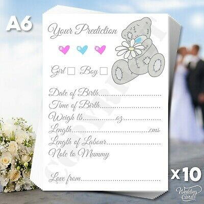 10 Baby Shower Game Prediction Cards Boy Girl Shower Mum to be guests guess set