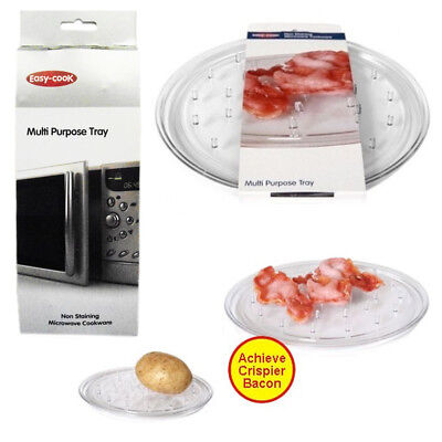 Microwave Even Cooking Bacon Tray Non Staining Potato Bake Rack Clear Round NEW
