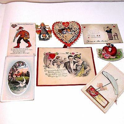 Vintage Lot 8 Early 1900's Valentine's Day  Cards