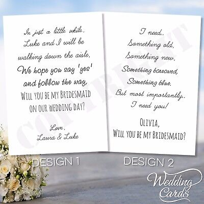 Will you be my Bridesmaid Maid of honour Witness Invitation Invite Post Card A6