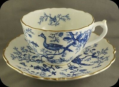 Coalport Cairo Blue Cup & Saucer Pheasant Peacock Butterfly Insects