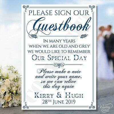 Personalised Wedding Guestbook Please Sign Our Guest book Party A4 display card