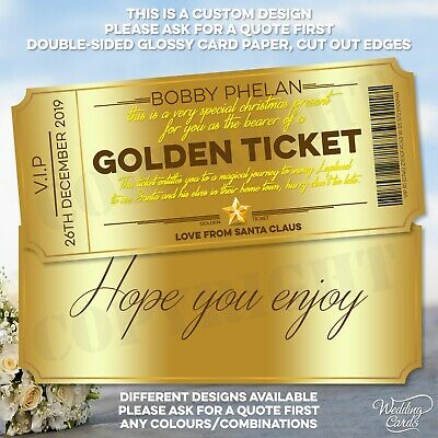Personalised Golden Ticket to Lapland North Pole Invitation Gold Christmas Santa