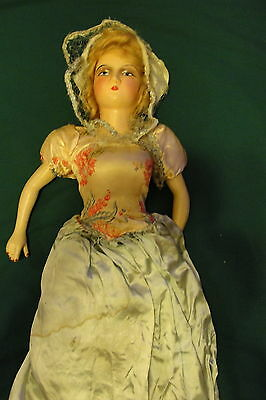Vintage French Maid?  Wooden? Composition? Bed Doll - Unique & Beautiful  L@@k!!