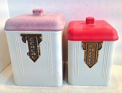 2 Vintage Nesting Bakelite Canisters, Marquis Australia, Coffee Cereal (3283)