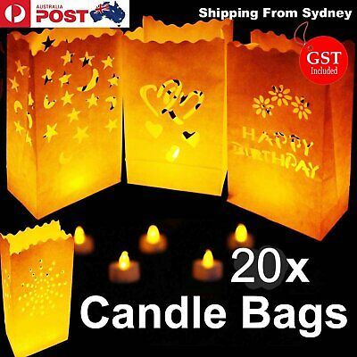 NEW 10x Paper Candle Bag Bags Lantern Flameless Tea light party Wedding Deco