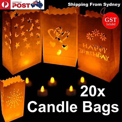 20x Paper Candle Bag Bags Lantern Flameless wedding Tea light Party Wedding Glow
