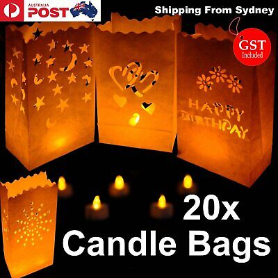 NEW 20x Paper Candle Bag Bags Lantern Flameless wedding Tea light party Wedding