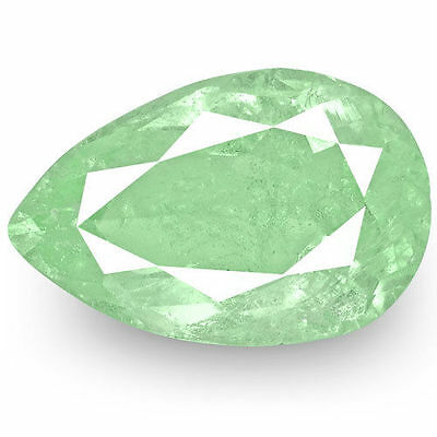 3.19-Carat Pear-Shaped Lustrous Bluish Green Natural Colombian Emerald