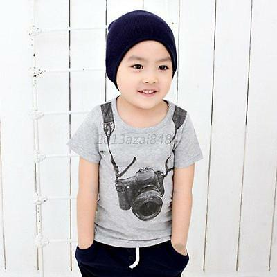 Kids Baby Boys Toddler T-shirt Pullover Camera Print Short Sleeve Clothing A17