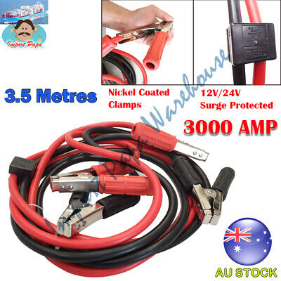 3000AMP Car & Truck Surge Protected Heavy Duty Jumper Leads Nickel Coated Clamps
