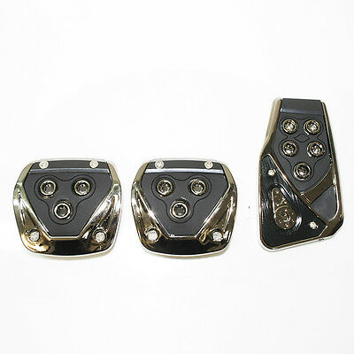 Black Chrome Car Foot Pedal Covers Pads Non Slip Fits Alfa Romeo 147 156 159 Gt
