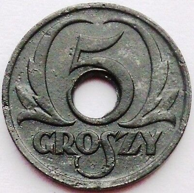 Poland - General Government 5 Groszy 1939 Y# 35 Zinc With Center Hole