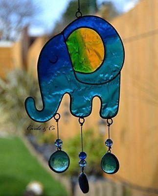 Stained Glass Blue-Turquoise Elephant Hanging Sun Catcher Home-Window Decoration
