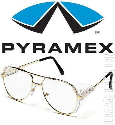 Pyramex Pathfinder Clear Gold Metal Retro Aviator Safety Glasses Side Shield Z87