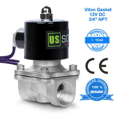 """U. S. Solid 3/4"""" Stainless Steel Electric Solenoid Valve 12V DC Normally Closed"""