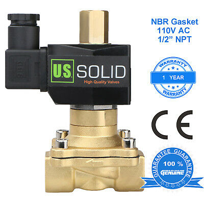 "U. S. Solid 1/2"" Brass Electric Solenoid Valve 110V AC Normally Open NBR"