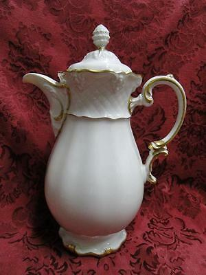 """Royal Coburg, Ivory w/ Embossed Lattice: Coffee Pot w/ Lid, 9.25"""" Tall, As Is"""