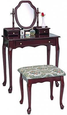 Traditional Dark Cherry Vanity Make Up Table and Stool Set By Coaster 3441