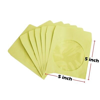 100 80g CD DVD R Disc Paper Sleeve Envelope Clear Window Flap - Yellow