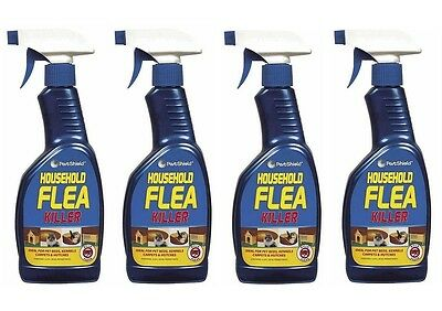 4 X 500ml Flea Killer Treatment Spray Carpet Pet Bedding Spray Dog Cat Tick New
