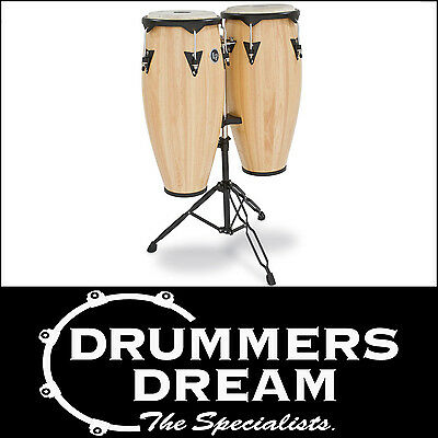 """LP Latin Percussion CITY WOOD CONGAS 11""""/12"""" NATURAL FINISH W/STAND RRP $999 NEW"""