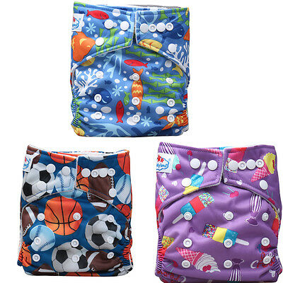 Baby Unisex 3 Pcs Reusable Washable Pocket Baby Cloth Diaper Nappy+ 3 Inserts
