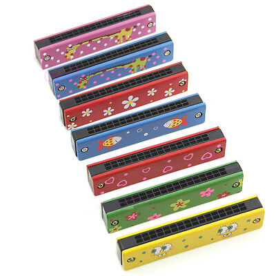 New Colorful Musical Wooden Painted Harmonica Instrument Toy for Kids Randomly