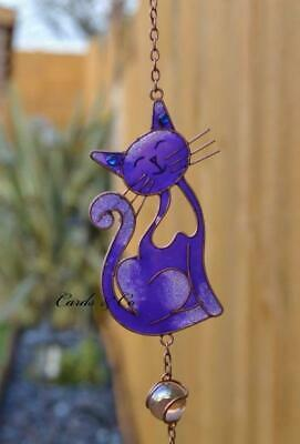 Purple Stained Glass Smiling Cat Suncatcher Mobile Wind Chime Garden Home