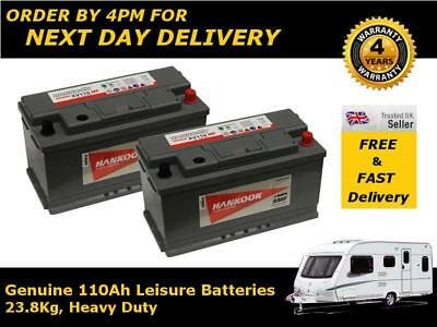 Pair of Hankook 110Ah Deep Cycle Caravan Batteries 12V - 4 Yr Wnty