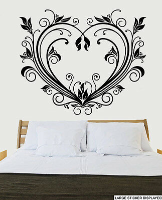 Beautiful Swirling Heart Design - Wall Vinyl Stickers Love Transfer Mural Decals