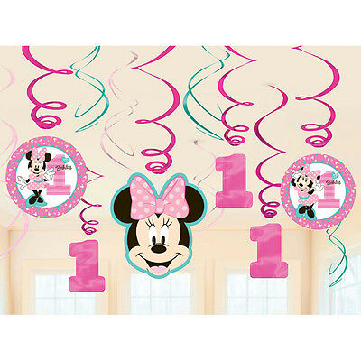 Disney Minnie Mouse 1st First Birthday Party Swirl Decorations